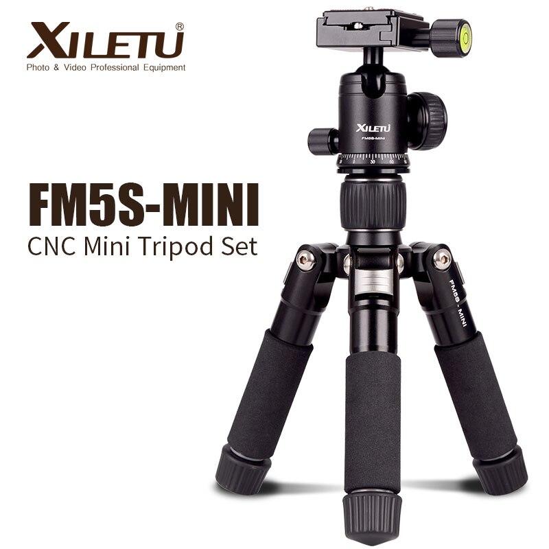 XILETU FM5S MINI Lightweight Alluminum Tripod Tabletop Mini Travel Stand Tripod with 360 Degree Ball Head For Digital Camera