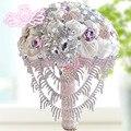 Роскошный свадебный букет кристалл алмаза 5 цвет Brooch свадьба нити накаливания букеты 2015 новый Buque де Noiva букет мантия-де-mariage