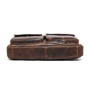 Image 4 - Westal masculino bolsa de couro genuíno masculino pastas bolsa para portátil totes de couro para documentos sacos de escritório para homens mensageiro sacos 8002