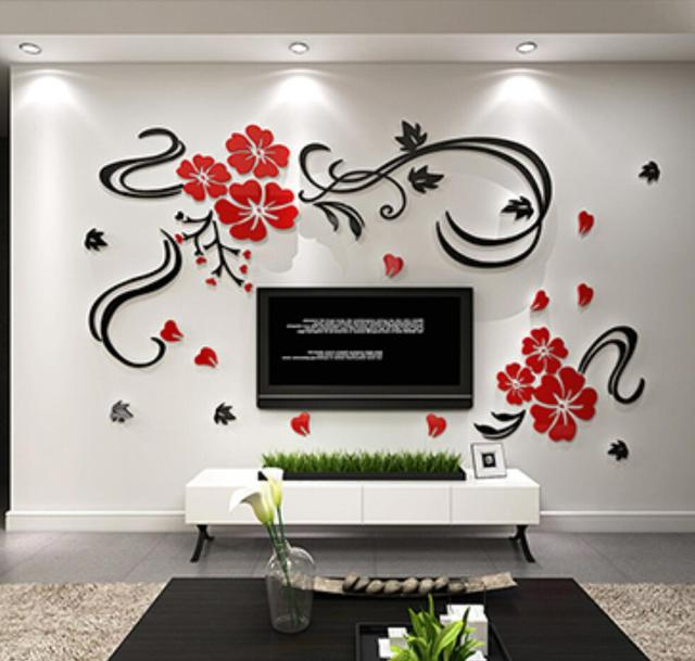 Happy flower vine flowers rich three dimensional crystal acrylic sticker modern tv sofa wall backdrop