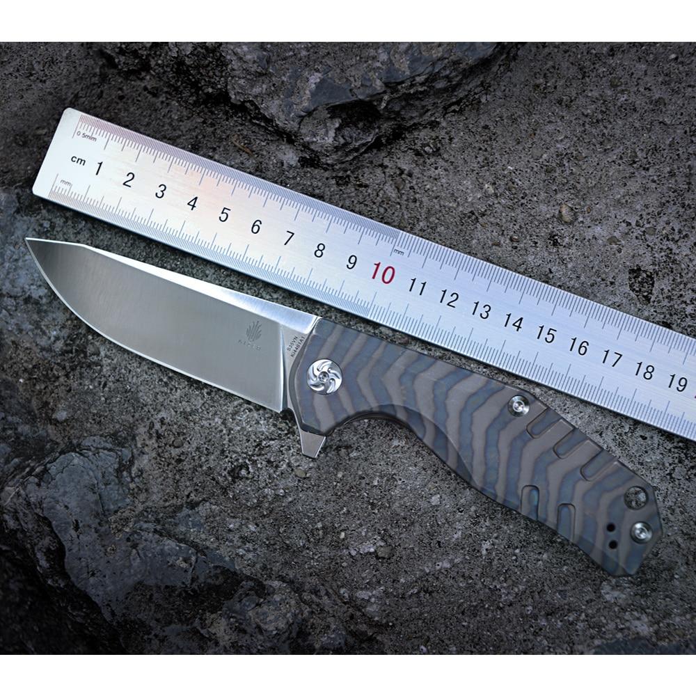 Kizer bushcraft couteau survie Ki4461A1 CPM-S35VN Lame Matériel 6AL4V Titane poignée haute qualité out porte poche couteau outil