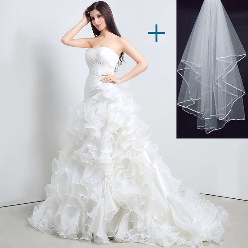 Stock mermaid wedding dresses sweetheart cascading ruffles for Wedding dress for less than 100
