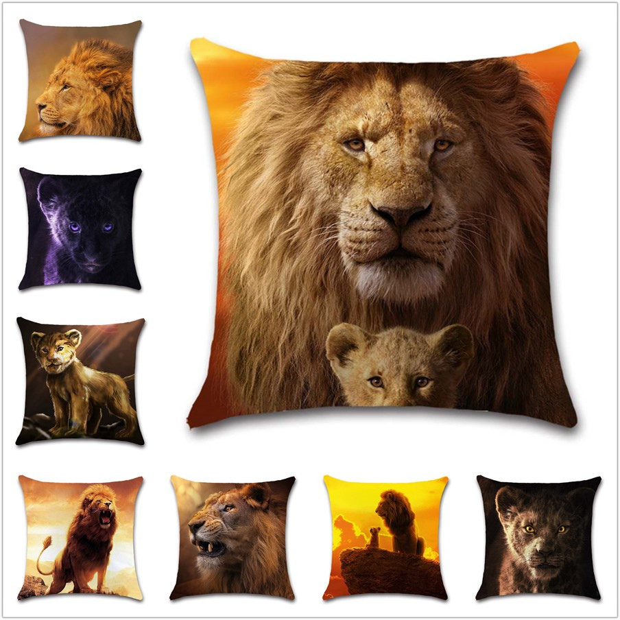 King of the grassland Lion Cushion Cover Decoration Home sofa chair office car seat friend bedroom children's gift pillowcase