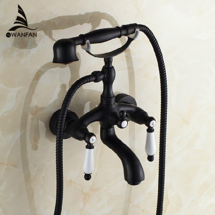Bathtub Faucets Black Bronze Mixer Taps Soild Brass Sanitary European-style Wall Mounted Double Handles Shower For Bath SY-017R dn19 manual sanitary aseptic sampling valve