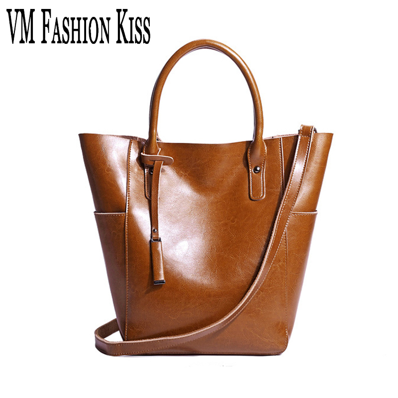 VM FASHION KISS 2017 Oil Wax Genuine Leather Casual Big Totes Simple Vintage Shoulder Bag Women Messenger Bags Ladies Handbags