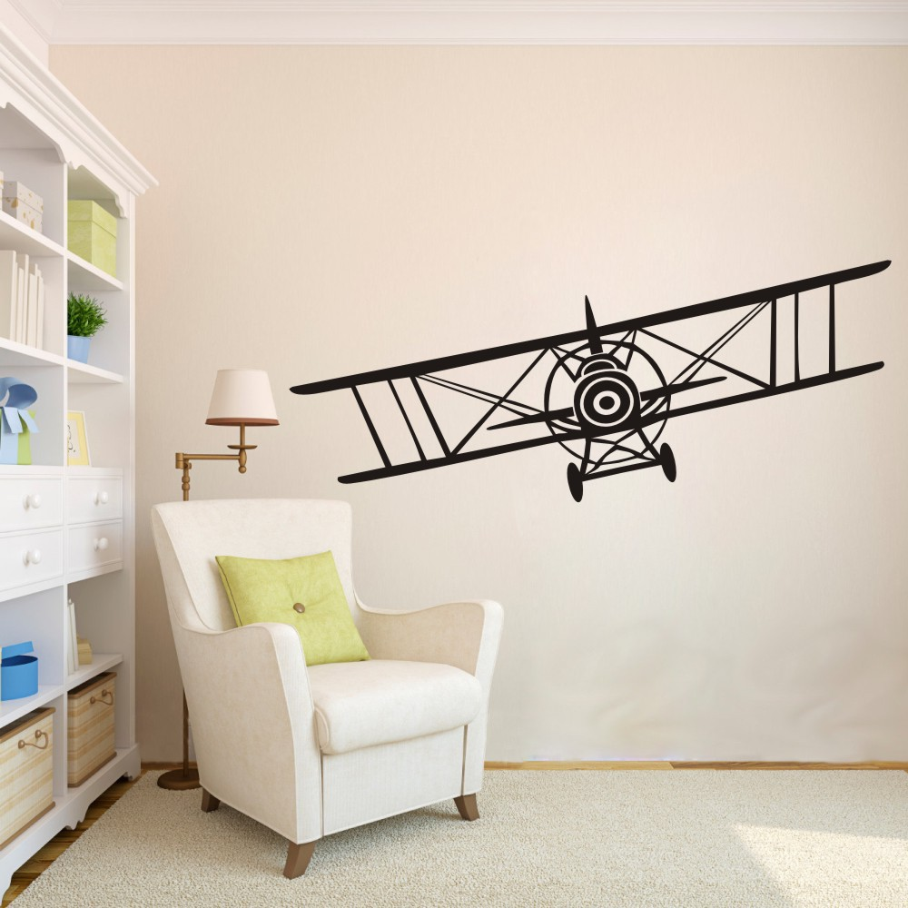 Huge bi plane vinyl wall decal sticker vintage airplane bi plane huge bi plane vinyl wall decal sticker vintage airplane bi plane aeronautical pilot wall art decal 18h x 56w in wall stickers from home garden on amipublicfo Gallery