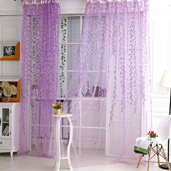 Room Willow Pattern Voile Window Curtain Sheer Panel Drapes Scarfs Curtain Hot Sale