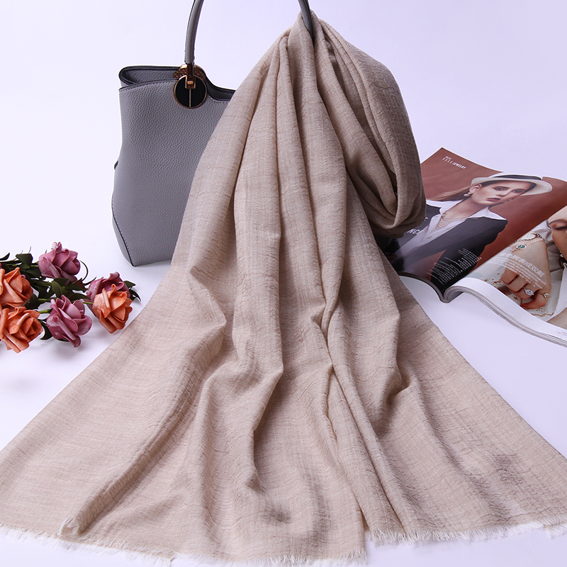 100% Wool Scarf Shawls Wraps For Women Solid Warm Wool Scarves For Female Ladies Autumn Winter Scarf Neckerchief Pashmina