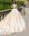 Loverxu Vestido Де Новия Кружева Line Свадебное Платье 2016 элегантный Scoop Шеи Аппликации Часовня Поезд Принцессы Свадебное Платье Плюс размер