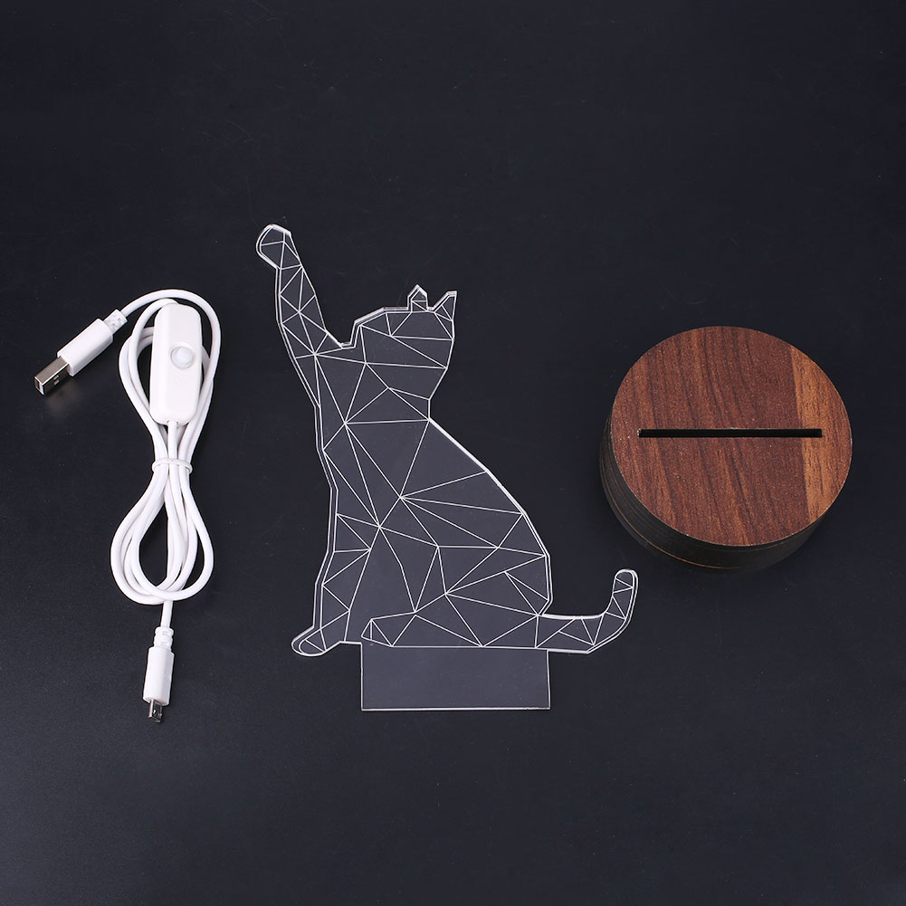3D Acrylic Cat Table Lamp Nightlight Visual Bedside Gift Novelty Personality