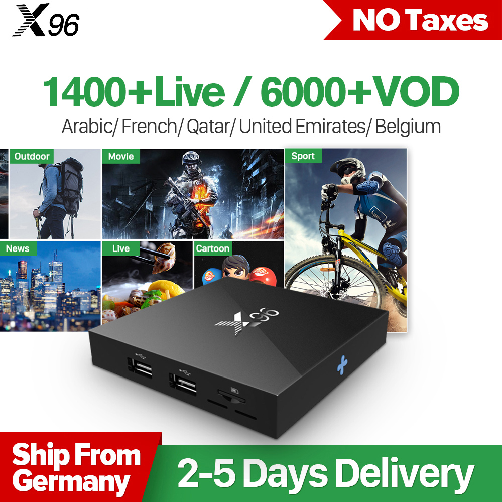 Arabic France IPTV Box X96 Android 6.0 Smart 4K TV Box Iptv Code QHDTV 1 Year Europe Dutch Belgium French Arabic IPTV Top Box best hd 1 year arabic europe french iptv italy belgium 1300 live channels av cable for tv box android 7 1 smart tv box s912 box