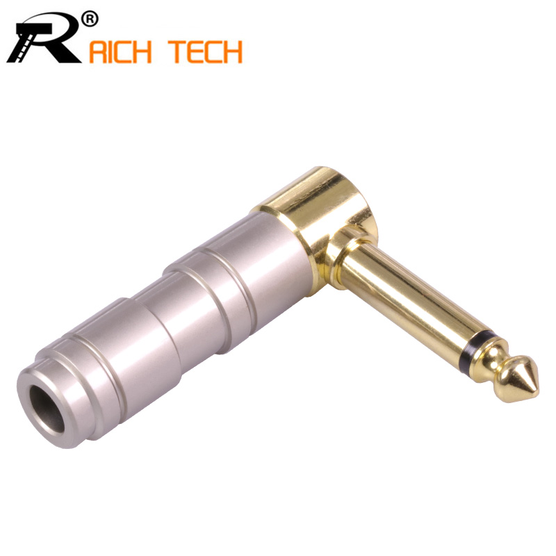 Right Angle Microphone plug 6.35mm Mono Male Assembly 6.35mm mono Connector Smoothly Gold-plated Jack 6.35 Speaker plug 1pcs gold plated audio plug connector 6 35mm mono plug assembly jack 6 35 microphone plug diy speaker adapter