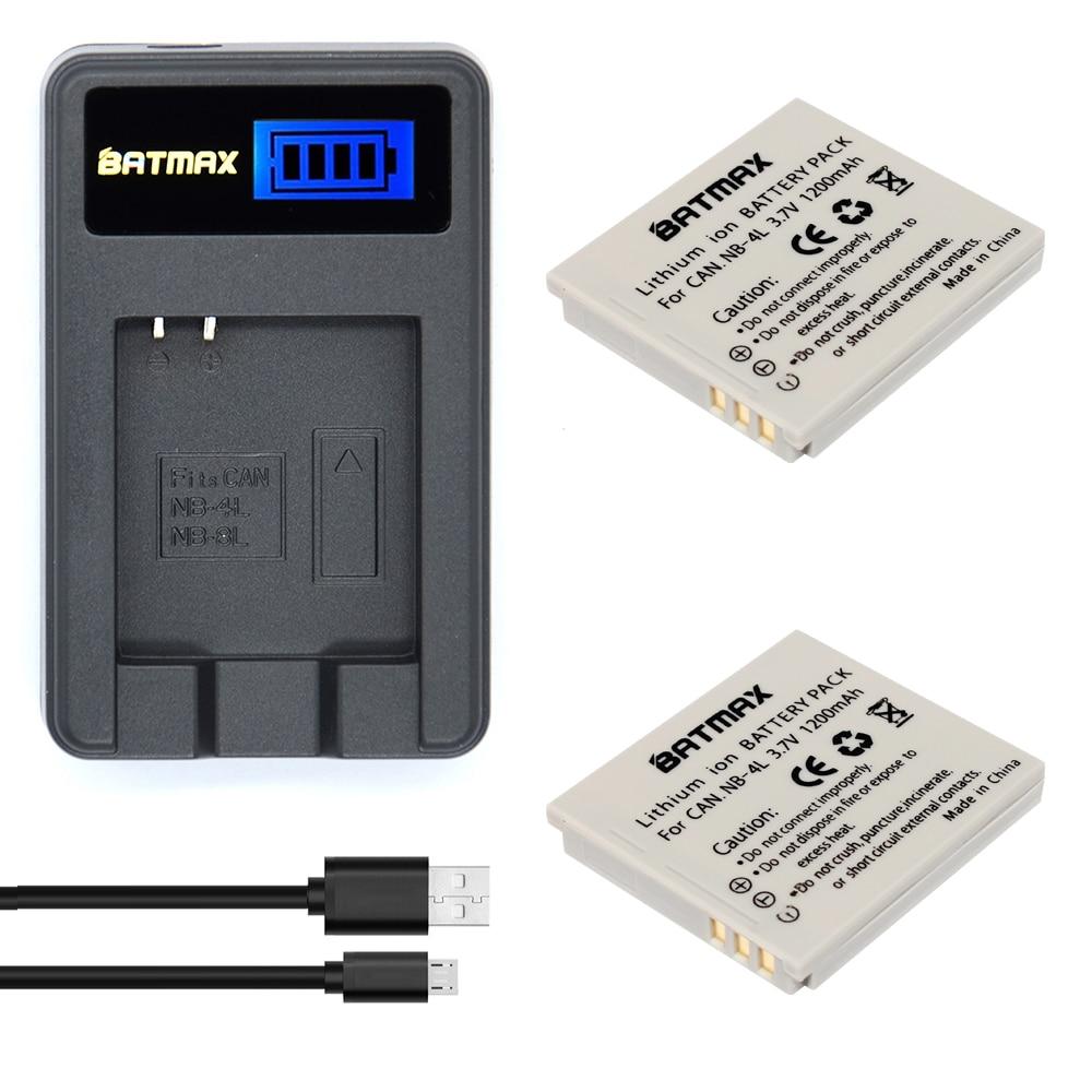 2 Pcs 1200 mAh NB-4L NB 4L NB4L Li-ion Baterias + Carregador USB LCD para Canon IXUS 60 65 80 75 100 I20 110 115 120 130 117 220 225