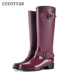 COVOYYAR 2018 Women Tall Rain Boots Waterproof PVC Work Knee High Rain Boots Flat Anti-slip Rubber Rainy Day Shoes Woman WBS479