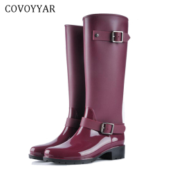 COVOYYAR 2019 Women Tall Rain Boots Waterproof PVC Work Knee High Rain Boots Flat Anti-slip Rubber Rainy Day Shoes Woman WBS479