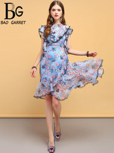 Baogarret New Fashion Designer Summer Vintage Dress Womens Ruffles Asymmetrical Floral Printed Elegant Vacation Dresses