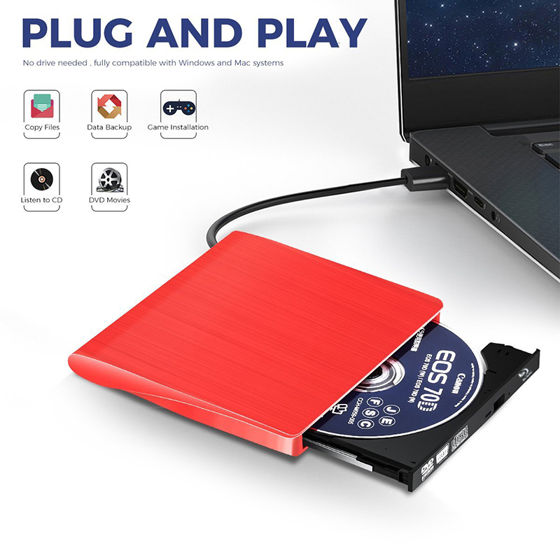 2019 Newest USB 3.0 External Blu ray Player CD/DVD Writer Optical Drive 3D movies 25/50G BD-ROM RW Burner for Laptop Computer