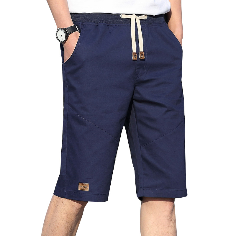 2019 Summer Solid Casual Cotton Shorts Men Khaki Black White Short Joggers Plus Size 4XL Bottoms Beach Shorts Drop Shipping