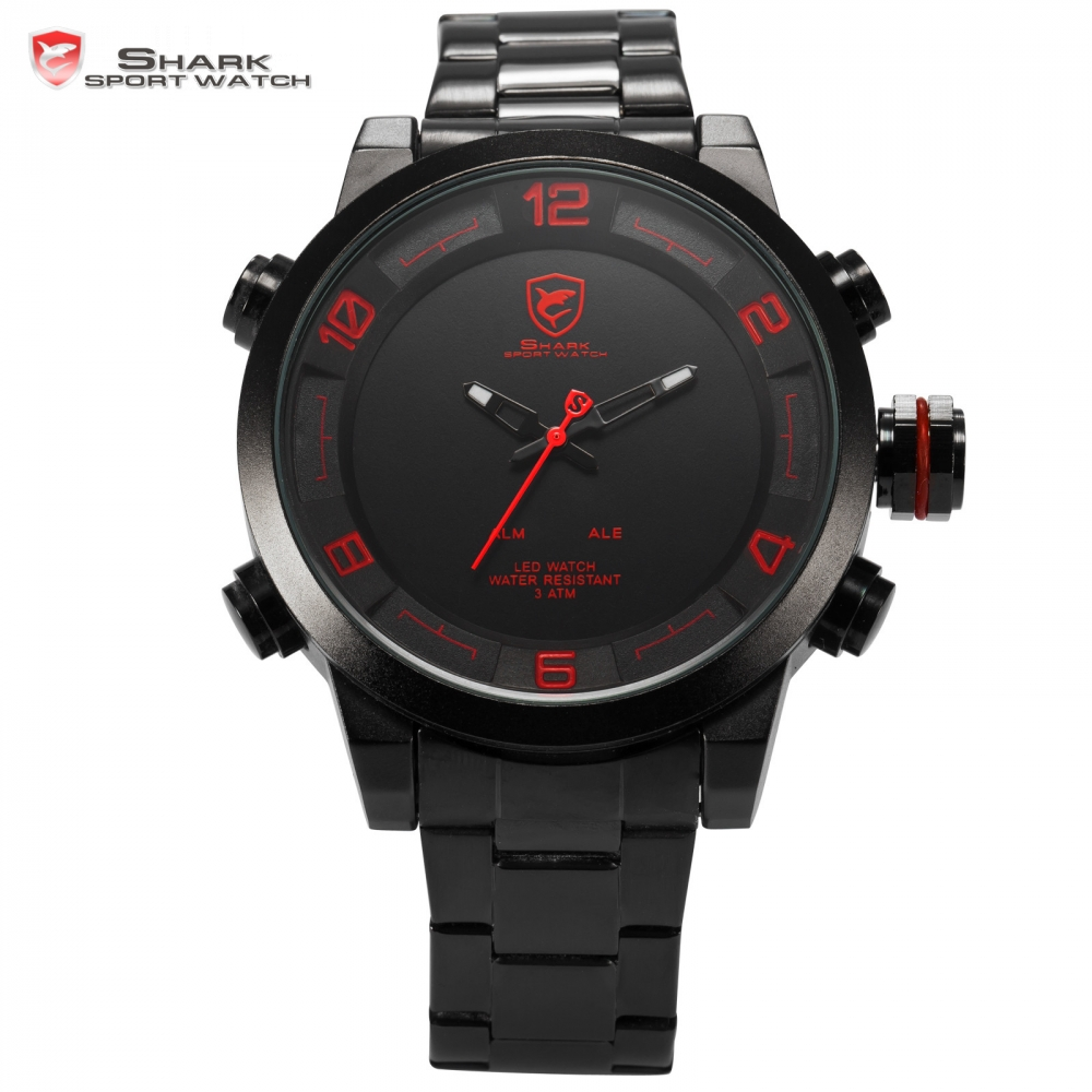 Hot Shark Sport Watch Men Luxury Brand Horloge LED Auto Date Dual Time Zone Alarm Full Steel Clock Relogio Digital Watch / SH360 bewell multifunctional wooden watches men dual time zone digital wristwatch led rectangle dial alarm clock with watch box 021a