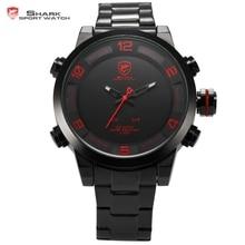 Chaude Shark Sport Montre Hommes Marque De Luxe Horloge LED Auto Date Dual Time Zone D'alarme En Acier Plein Horloge Relogio Montre Numérique/SH360