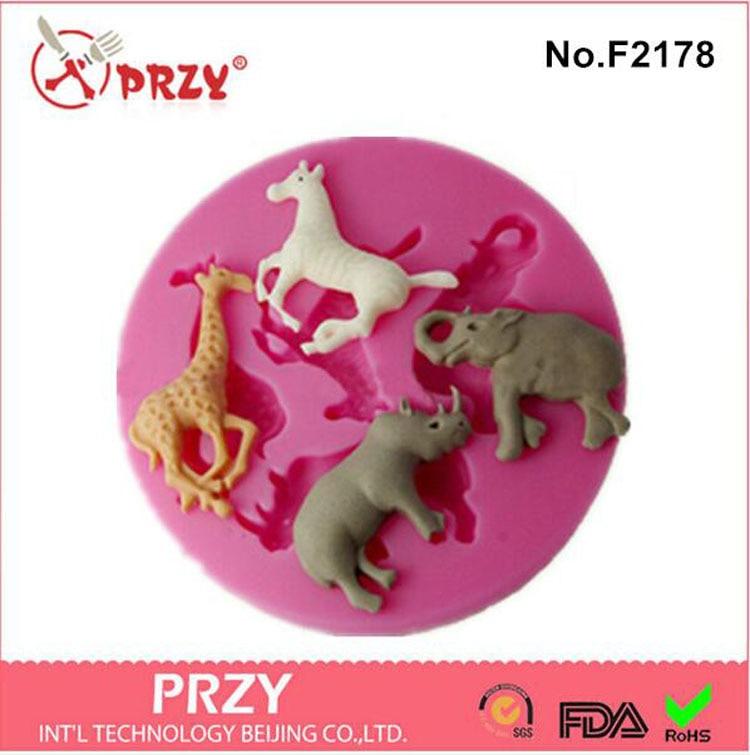 horse rhinoceros elephant giraffe animal series cake decorating tools silicone fondant mold