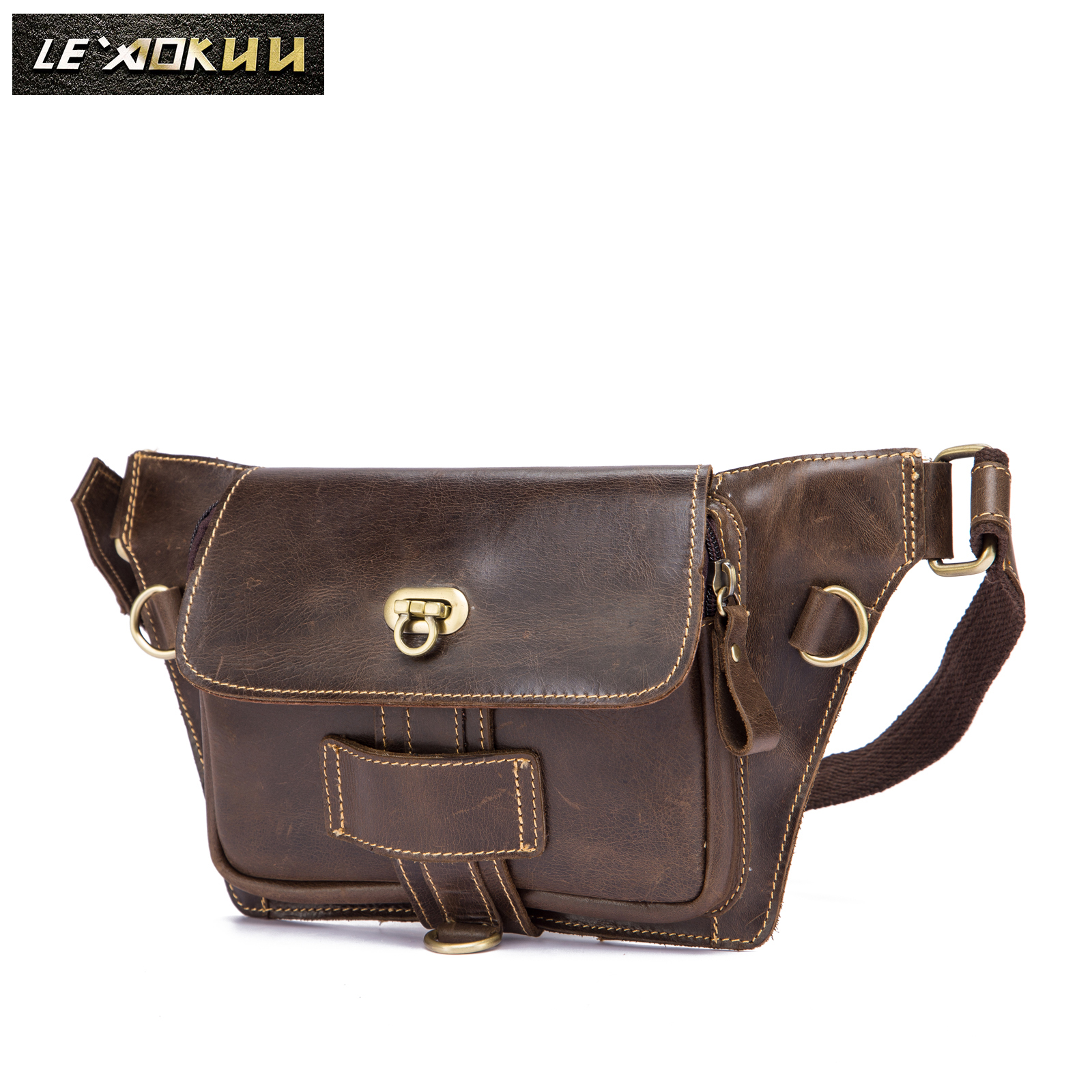 Crazy Horse Leather Men Casual Fashion Fanny Waist Belt Bag Chest Pack Sling Bag Cowhide 7