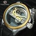 FORSINING Neue Mode Casual Goldene Brücke Mechanische Uhr Männer Schwarz Lederband Unqiue Design Herren Uhren Top marke Luxus-in Mechanische Uhren aus Uhren bei