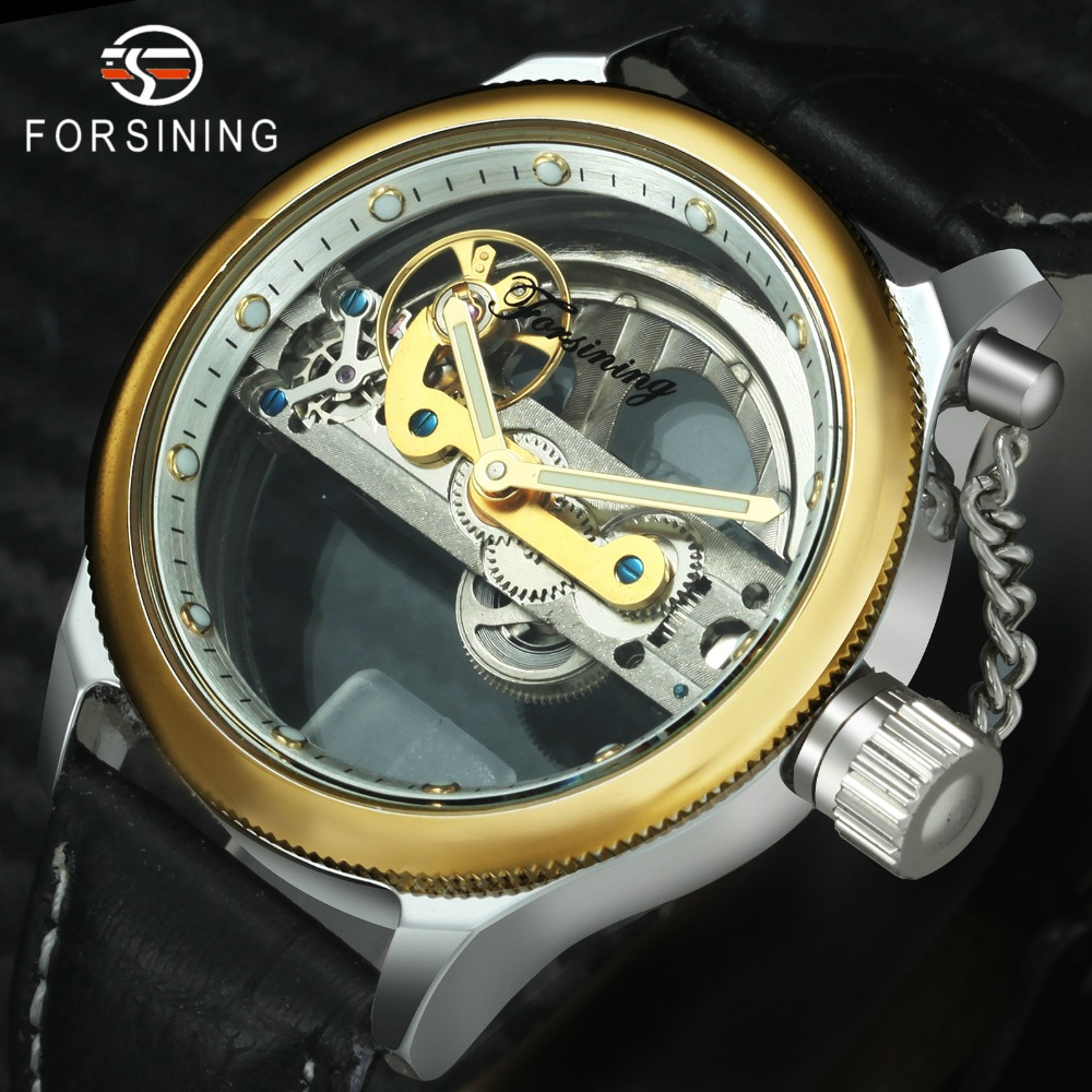 FORSINING New Fashion Casual Golden Bridge Mechanical Watch Men Black Leather Strap Unqiue Design Mens Watches Top Brand LuxuryFORSINING New Fashion Casual Golden Bridge Mechanical Watch Men Black Leather Strap Unqiue Design Mens Watches Top Brand Luxury