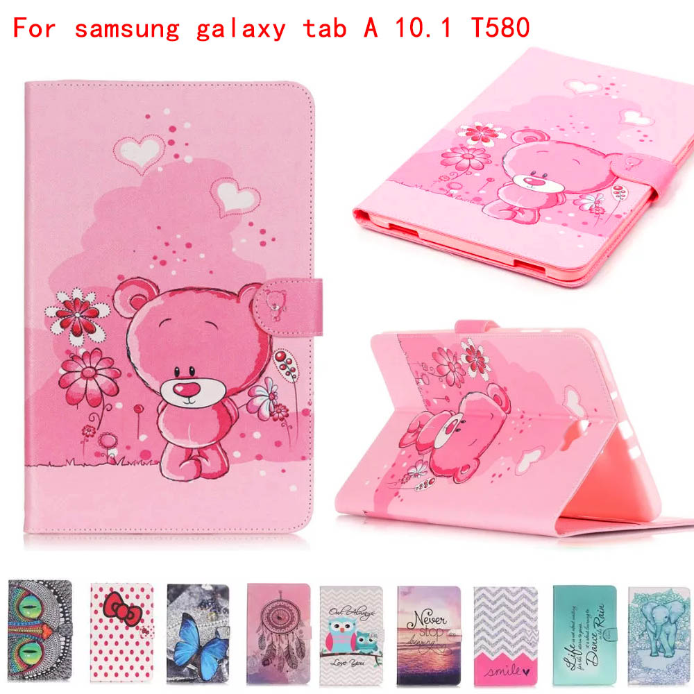 Carry360 Case for samsung galaxy tab A 10.1 SM-T580 SM-T585 10.1'' tablet smart PU leather print case+screen protector+stylus tempered glass for samsung galaxy tab a 10 1 2016 screen protector for galaxy tab a 10 1 sm t580 sm t585 or sm p580 sm p585