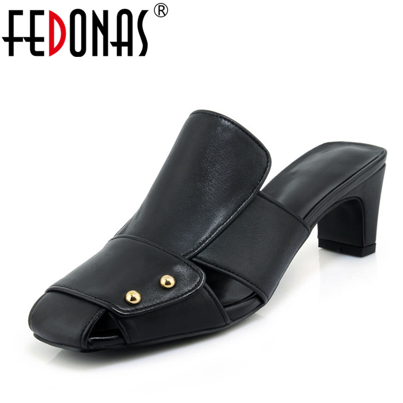 FEDONAS Womens Sandals Summer 2018 Sexy High Heels Genuine Leather Shoes Woman Comfort Casual Summer Autumn Shoes Sandals fedonas women sandals soft genuine leather summer shoes woman platforms wedges heels comfort casual sandals female shoes
