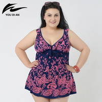 Print Summer Dress Plus Size One Piece Swimsuit 2016 Sexy Plus Size One Piece Swimwear Fashion