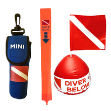 Diving Buoy Float Diver Down Kayak Boat Flag with Dive Buoy ''Diver Below'' Marker for Safety Scuba Diving Spearfishing 1 2m 4ft high visibility inflatable scuba diving smb surface marker buoy underwater safety float sausage signal tube accessories