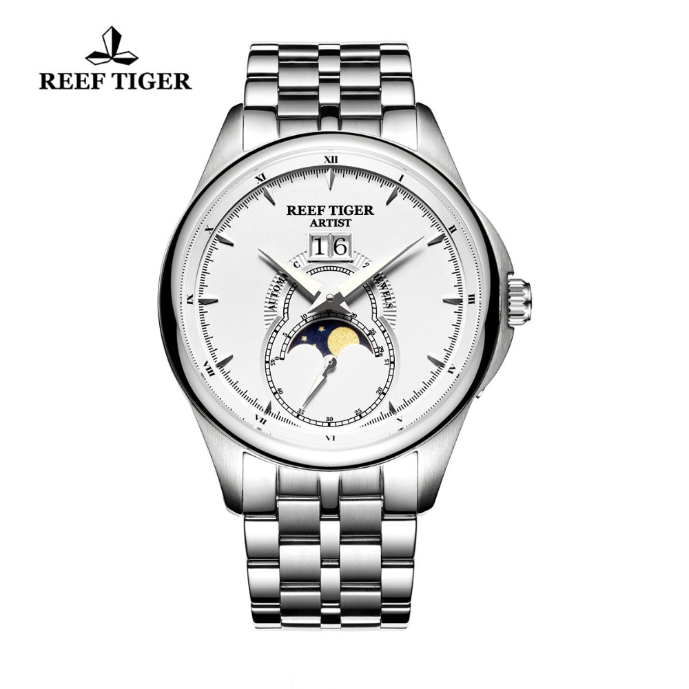 Reef Tiger Top Brand Fashion Watches Men Moon Phase Calendar Watches Stainless Steel Bracelet Watch Automatic Watches RGA1928Reef Tiger Top Brand Fashion Watches Men Moon Phase Calendar Watches Stainless Steel Bracelet Watch Automatic Watches RGA1928
