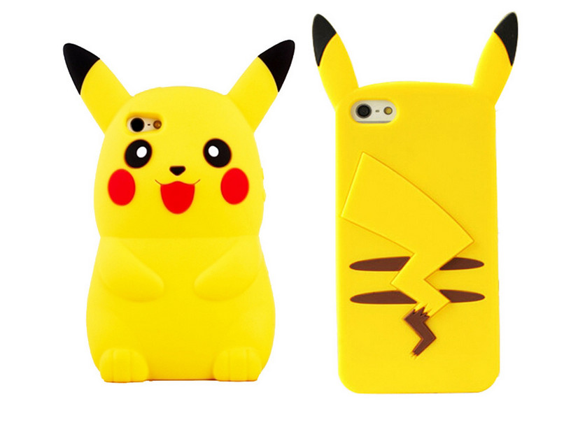 2016 New Style Anime Cartoon 3D Pocket Monsters Pokemon Pikachu Cute Silicone Back Cover Case For iPhone 4s 5 5s 6 6 7plus