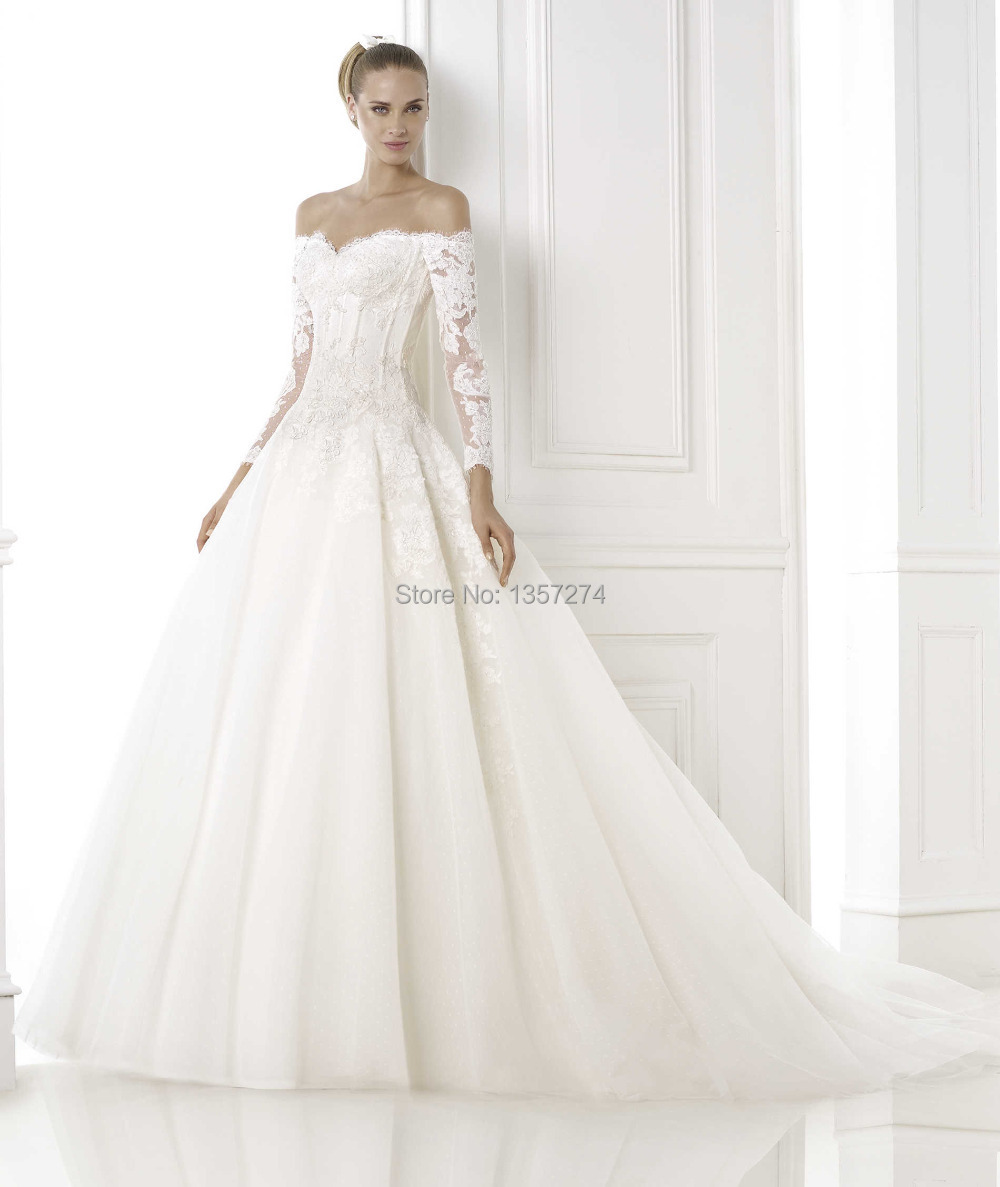 Long Sleeve Lace Corset Wedding Dresses off the Shoulder Princes ...