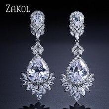ZAKOL Fashion Zircon Chandelier Elegent Wedding Jewelry Luxury Long CZ Crystal Leaf Big Dangle Drop Earrings For Brides FSEP021