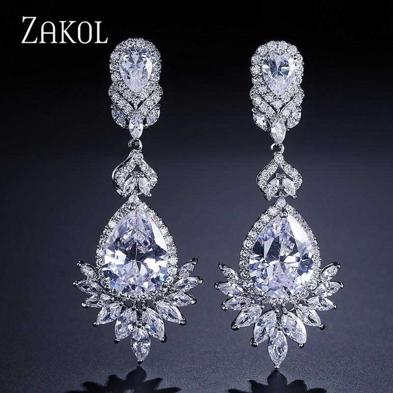 ZAKOL Mode Zircon Lustre Elegent De Mariage Bijoux De Luxe Long CZ Cristal Feuille Grand Balancent Boucles D'oreilles Pour Les Mariées FSEP021