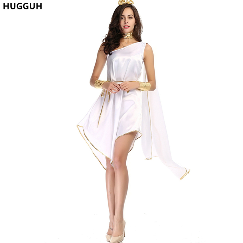 HUGGUH Brand New Sexy Women Dress Halloween Masquerade Cosplay Costume Greece Goddess Egypt Queen Role Play White Dress H1572029