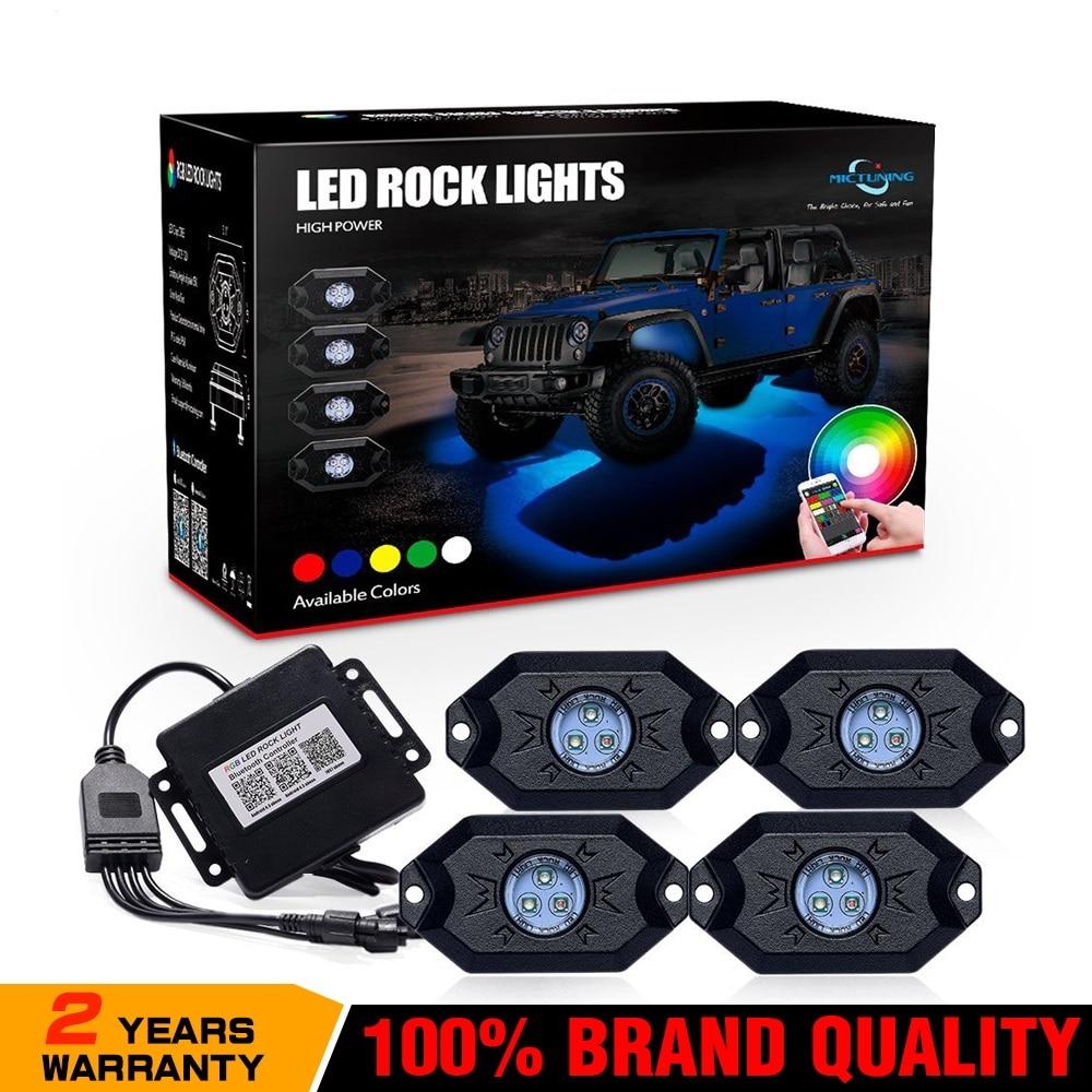 MICTUNING см 4 накладки RGB светодиодный Рок светильник s с Bluetooth пульт дистанционного управления многоцветный неоновый светодиодный светильник к...
