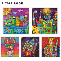 Finger Rock Mosaic Stickers Handmade 3D Children DIY Foam Mosaic Stickers Art EVA Cartoon Crystal 3D Sticker Puzzle Toys As Gift