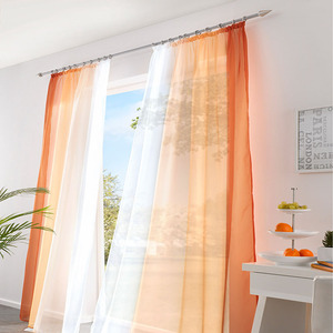 Image 3 - 2 Panel Finished Curtain Orange Gradient Tulle Curtain For Living Room Bedroom Kitchen Short Curtain Coffee Curtain D002#42 Pane