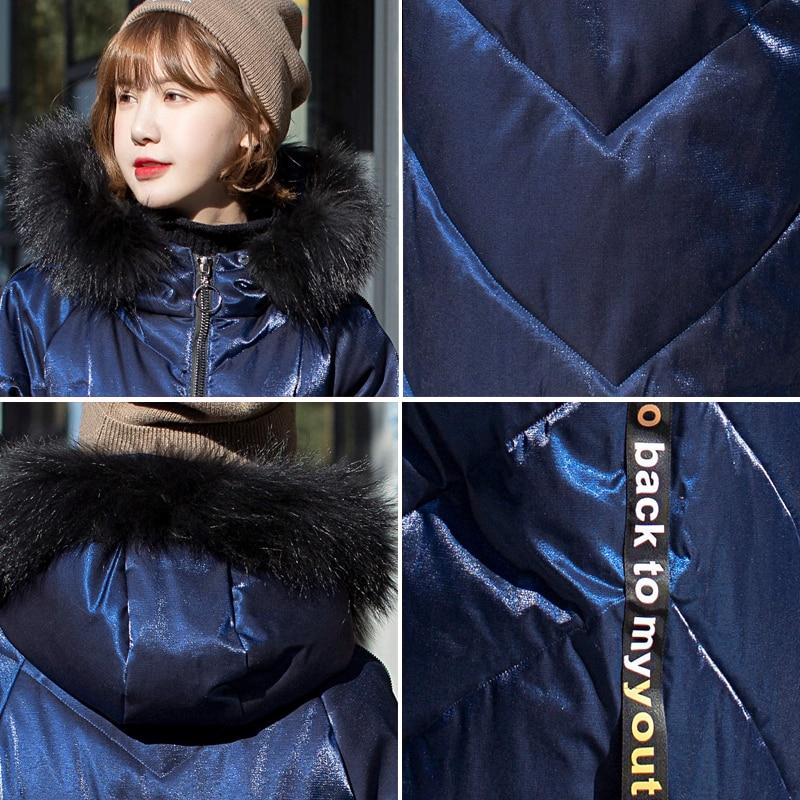 Veste De D'hiver Femelle Parka Streetwear Bleu Noir Lurex Vestes Capuche Noir Manteaux bleu À Fourrure 2019 Rembourré Col Femmes Surdimensionné Nouveau xq57Ywtfw
