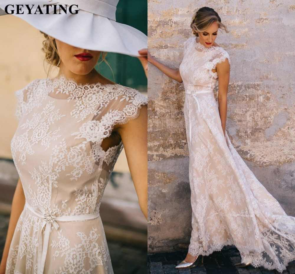 Vintage Champagne Lace Boho Wedding Dress 2020 Rustic Backless Country Style Wedding Dresses Beach Bridal Gowns A Line Plus Size Wedding Dresses Aliexpress