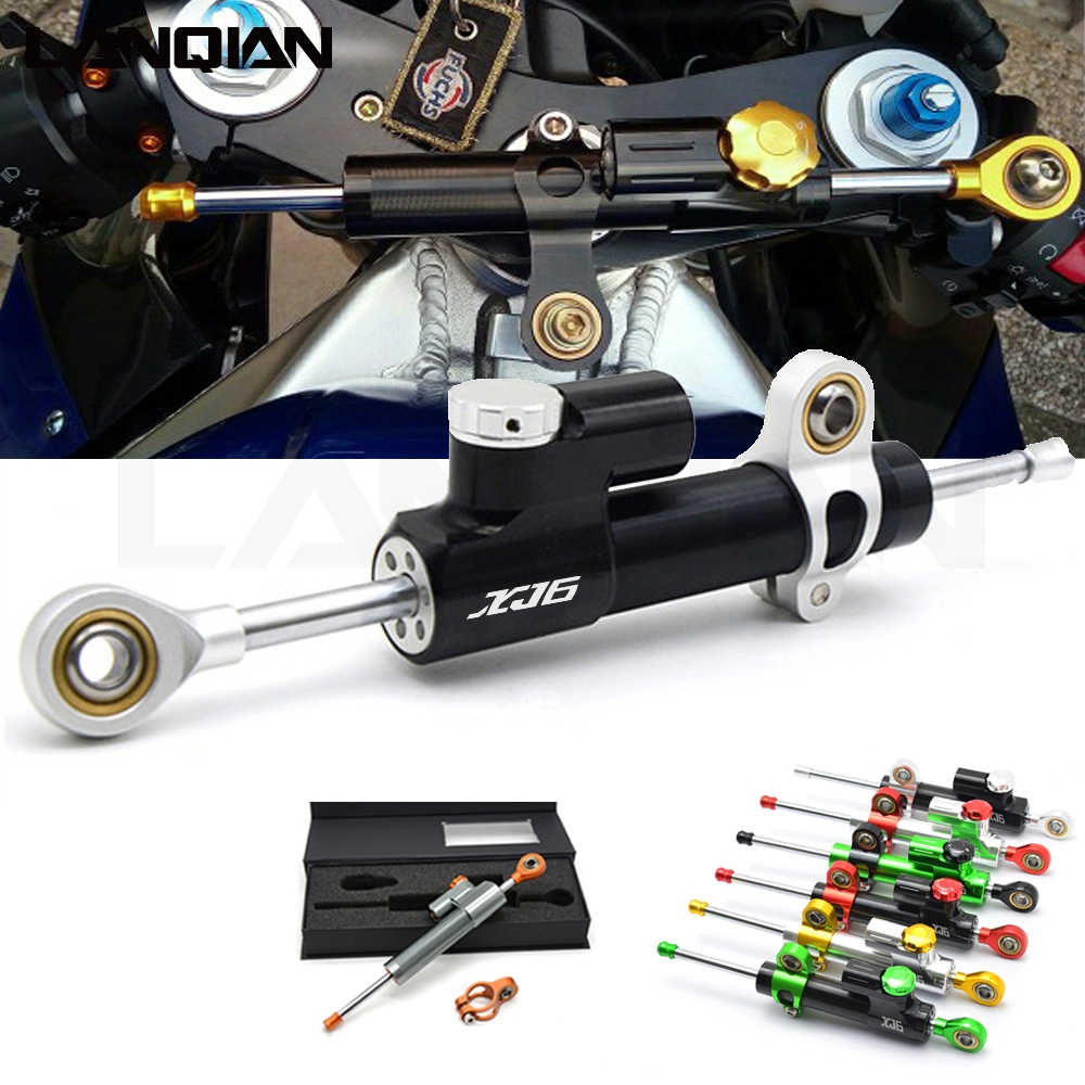 Universal Motorcycle Damper Steering Stabilize Safety Control For yamaha YZF R1 R6 FZ1 FZ6 XJ6 LOGO