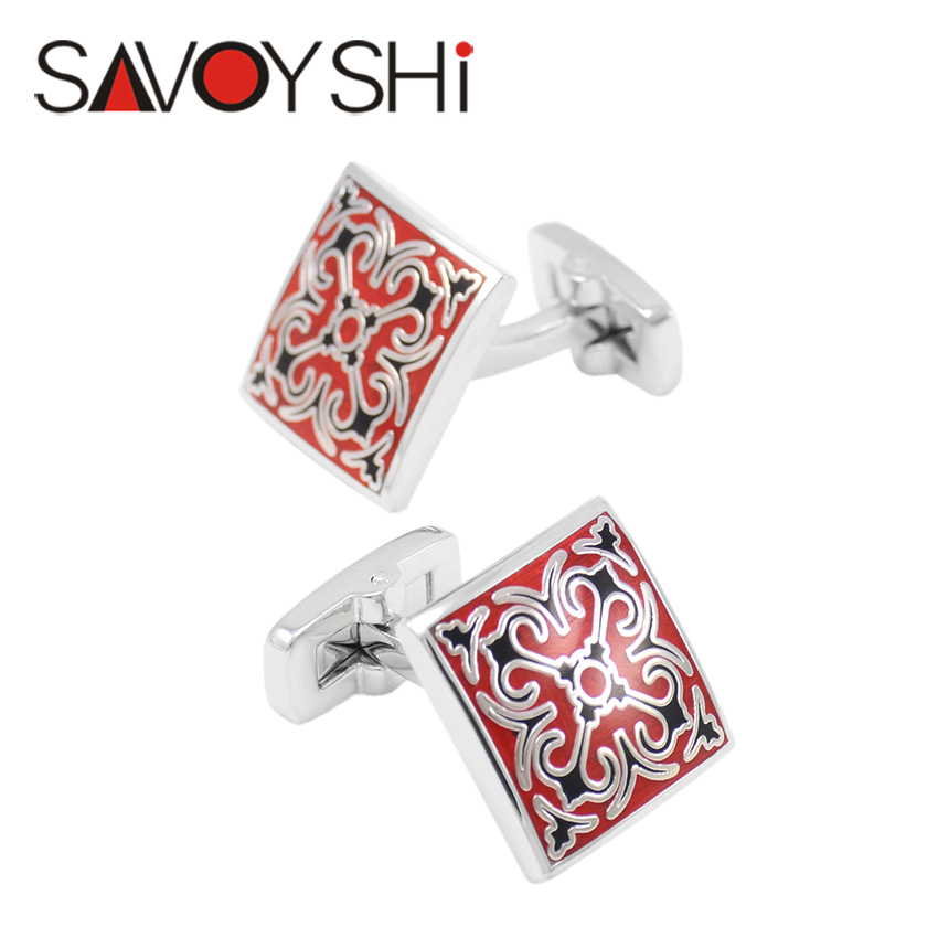 SAVOYSHI Shirt Cuff Cufflinks for Mens Cuff Buttons Vintage Red/Black Pattern Cuff Links Brand Designer Men Jewelry abotoaduras цены онлайн