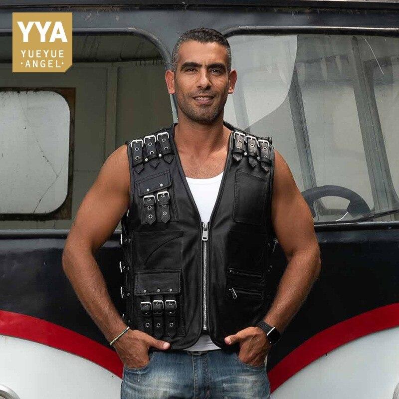Haute qualité luxe hommes en cuir véritable veste mode hommes Slim Fit sans manches gilet ceinture décontractée boucle poche Biker veste mâle