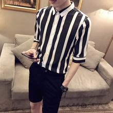 LOLDEAL Summer Casual Striped Shirt Slim Fit Half Sleeve Men