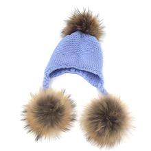 Autumn Kids Real Fur Hat Baby Winter Crochet Earflap Hat Girls Boys Knitted Beanie Double Two Fur Pompom Hat for Children
