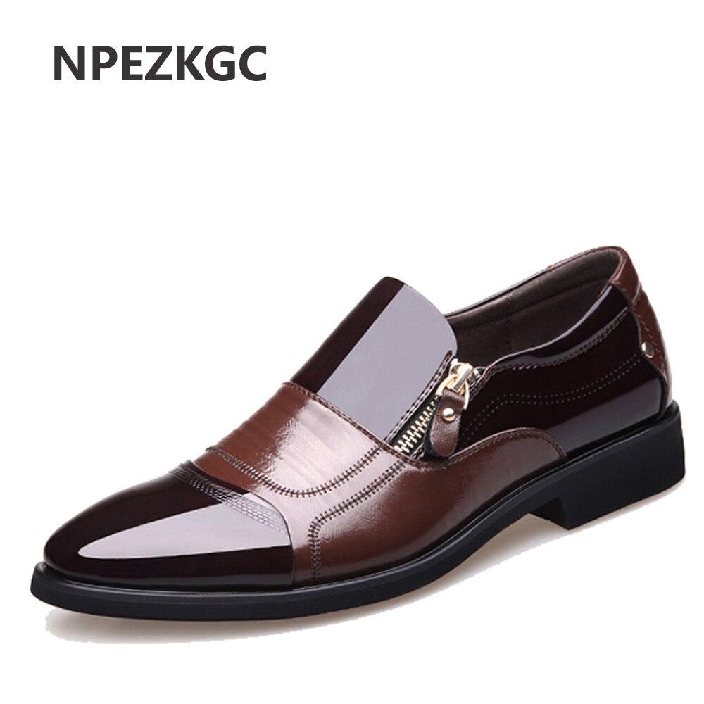 NPEZKGC Nouveau Printemps Mode Oxford Hommes D'affaires Chaussures En Cuir Véritable de Haute Qualité Doux Casual Respirant Hommes Appartements Zip Chaussures