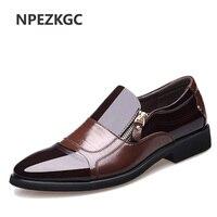 NPEZKGC Nueva Primavera Moda Oxford Hombres de Negocios Zapatos de Cuero Genuino Suave de la Alta Calidad de Los Hombres Ocasionales Respirables Pisos Zip Zapatos
